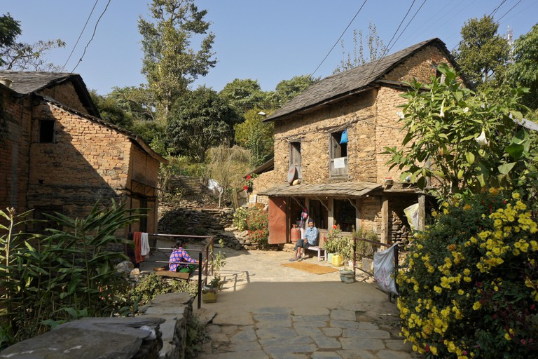Traditional Newari architecture in the historic trading post town of Bandipur, Tanahan