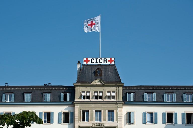 Geneva headquarters of the ICRC, Comite international de la Croix-Rouge CICR, International Committee of the Red Cross ,in Geneva, Switzerland