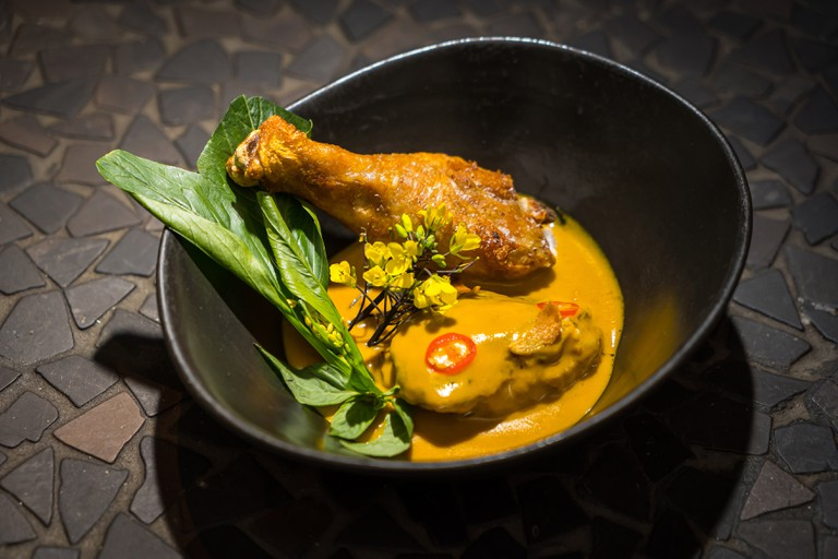 Yellow Chicken with lemongrass coconut, bok choi