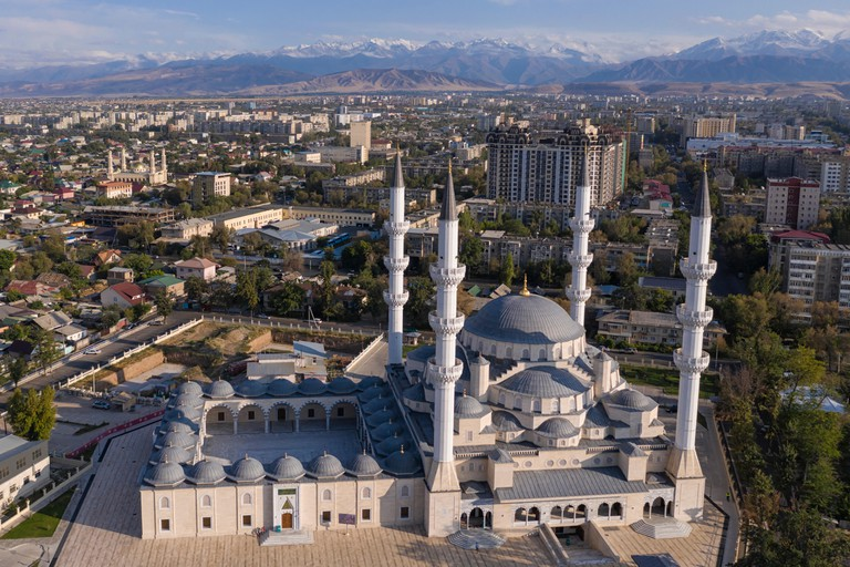 Aerial view of the new Central Mosque of Imam Sarakhsi in Bishkek, Kysgyzstan capital