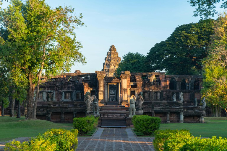 The beautiful stone castle in Phimai historical park. Prasat Hin Phimai ancient Khmer Temple in Nakhon Ratchasima Thailand. Phimai stone castle built