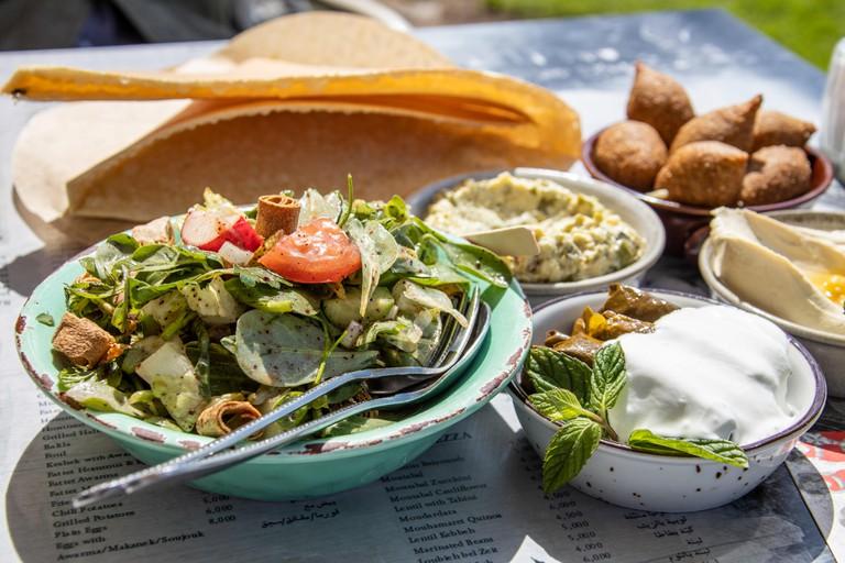 Mezze platter at restaurant in Beirut