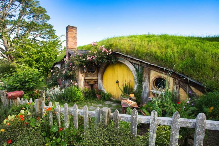 Hobbit House in the Hobbiton movie set, New Zealand