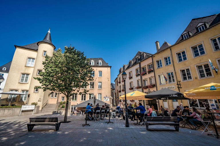 LUXEMBOURG CITY, LUXEMBOURG - SEPTEMBER 21: This is a view of an old town square with cafe in the historic quarter of Ville Haute on September 21, 201