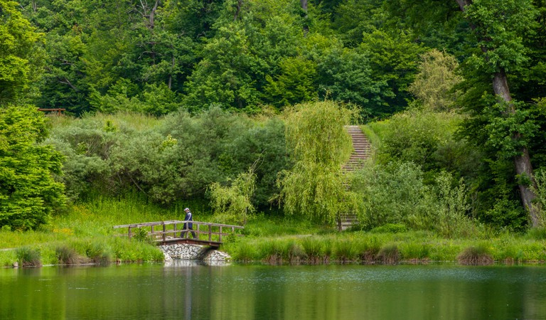 A small bridge in the middle of Maksimir Park in Zagreb