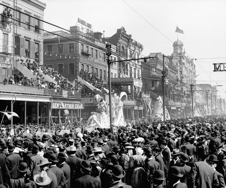 Crowds Watching The Rex Parade During Mardi Gras Festivities.1900.