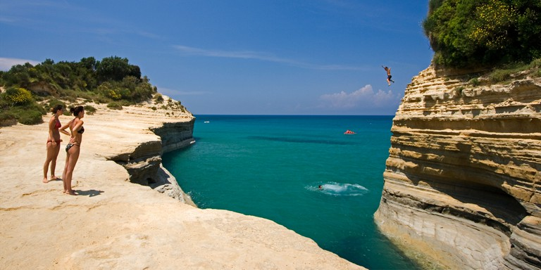 Cliff jumping off Canal d'Amour