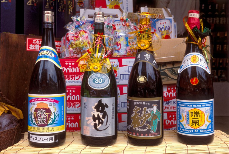 Bottles of the local Okinawan alcoholic beverage called Awamori