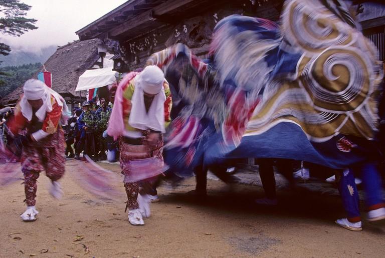 The performance of the lion-dance in Doburoku Maturi Festival at Shirakawago in Gifu, Japan.
