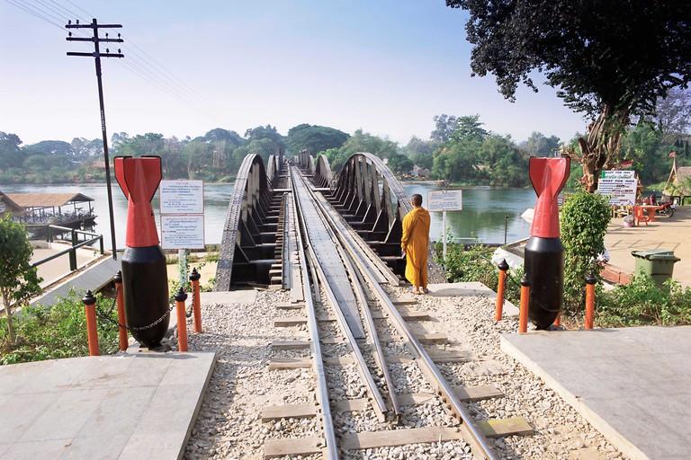 The Death Railway bridge on the River Kwai, Kanchanaburi, Kanchanaburi Province, Thailand, Southeast Asia