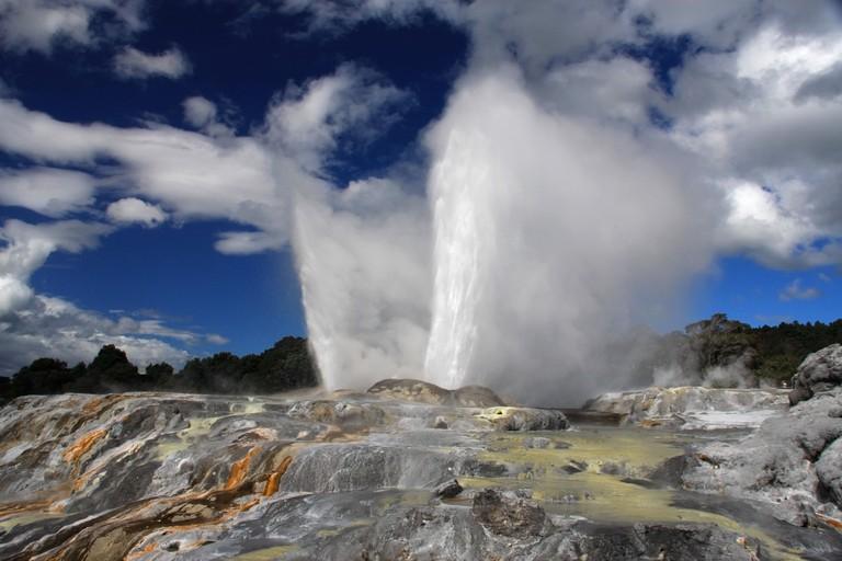 Pohutu geyser erupting in Whakarewarewa Thermal Valley, Rotorua