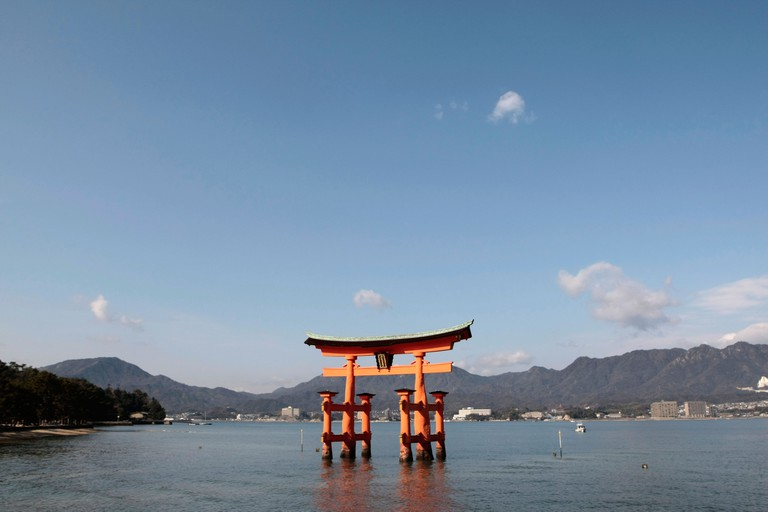 The Floating Torii Gate at Itsukushima Shrine on Miyajima Island, Japan.