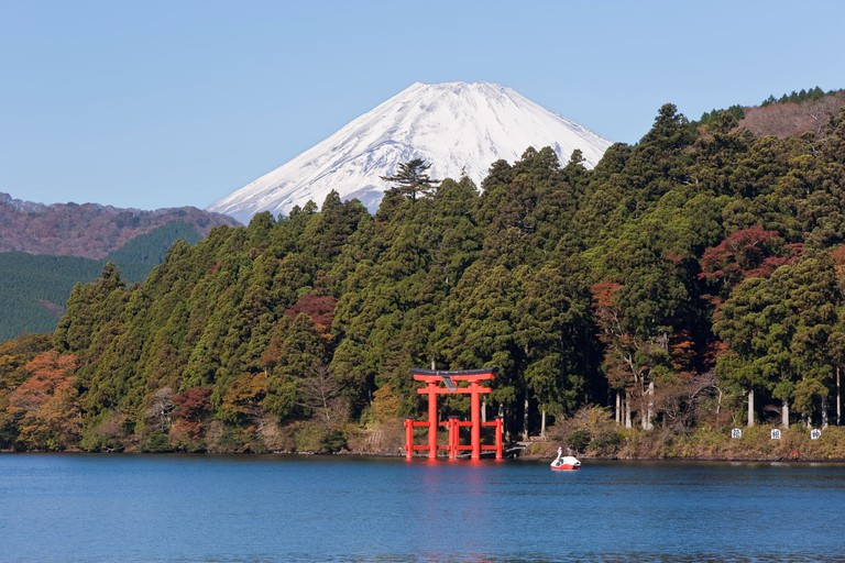 Lake Ashinoko with Mount Fuji behind, Hakone, Chubu, Honshu, Japan.