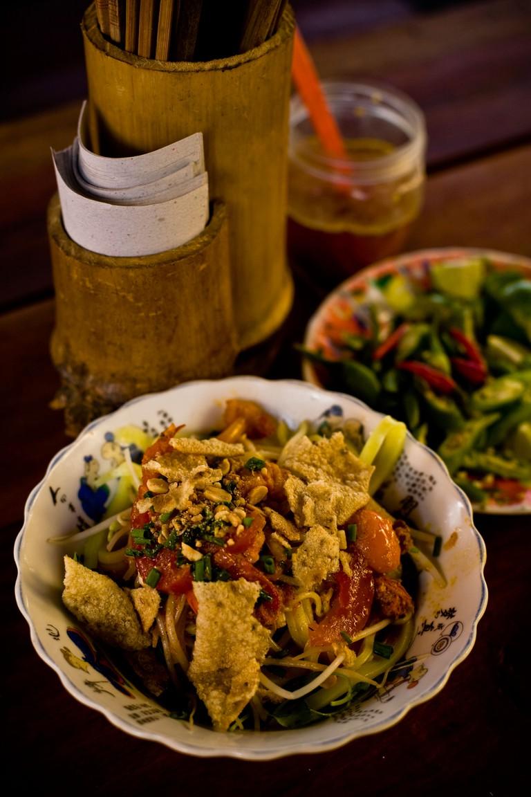 Cao Lau noodles at market