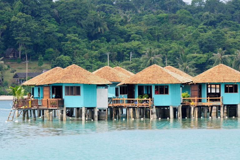 Thailand; Trat Province; Koh Chang; Bangbao; Huts built on stilts in the sea
