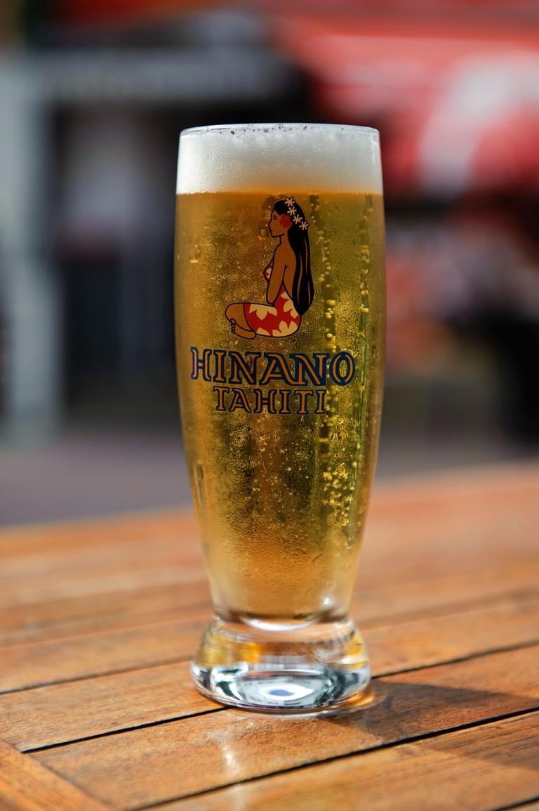 Glass of Hinano Tahitian Beer