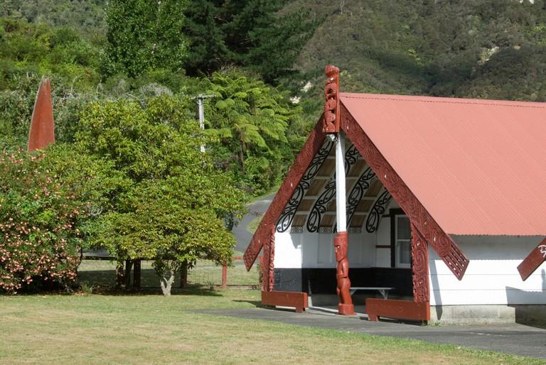 Maori meeting house, Koriniti Marae, Wanganui River