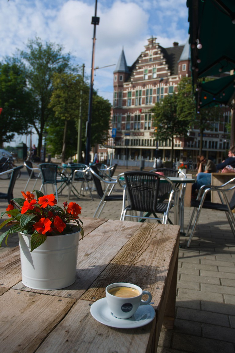 Cup of coffee in Delfshaven district, Rotterdam