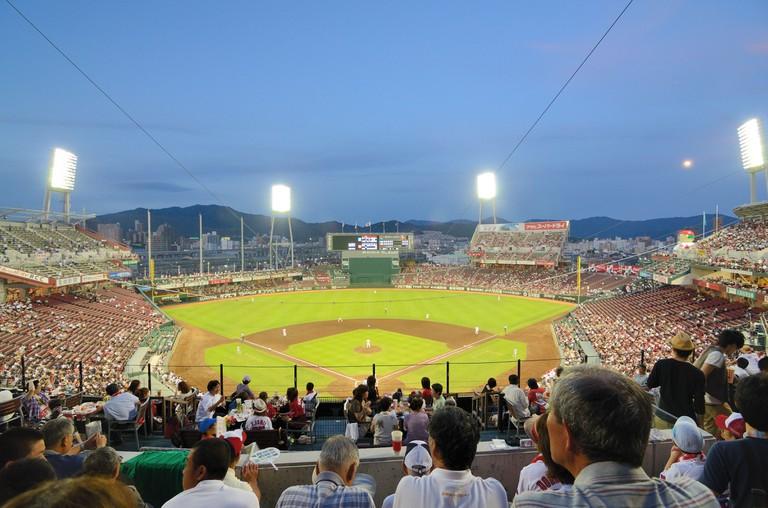 The Hiroshima Carps vs the Yokohama Baystars at Mazda Stadium.