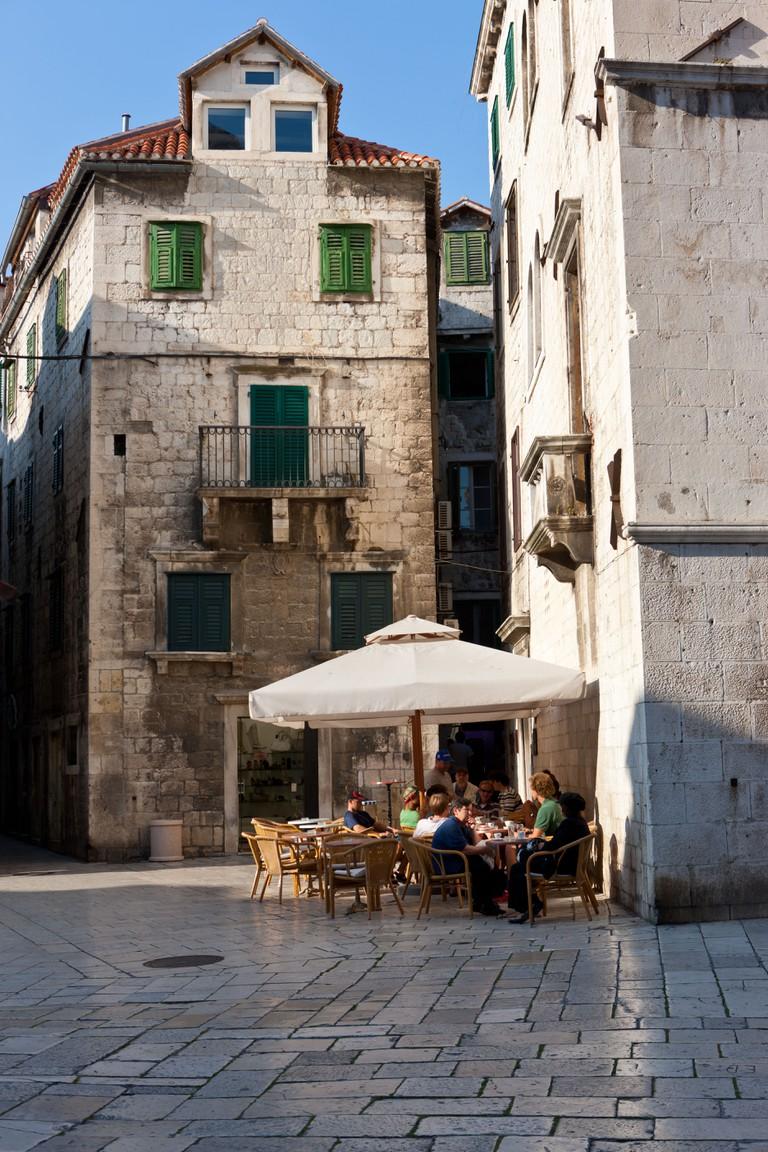 Restaurant in the historic town centre, Trg Brace Radic Square, Split, Middle Dalmatia, Dalmatia, Adriatic coast, Croatia