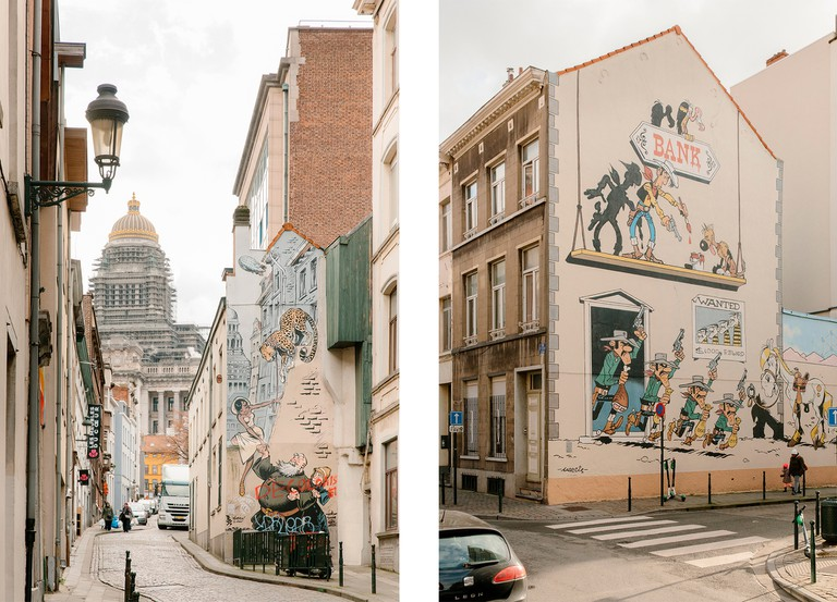 Left: Odilon Verjus mural | Right: Lucky Luke mural