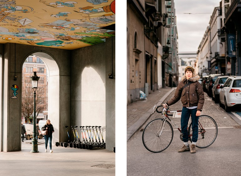 Left: Smurf mural at Central Station | Right: Paola Pisciottano, resident of Brussels