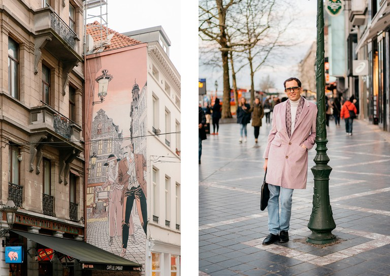 Left: Victor Sackville mural | Right: Filip Gilissen, resident of Brussels
