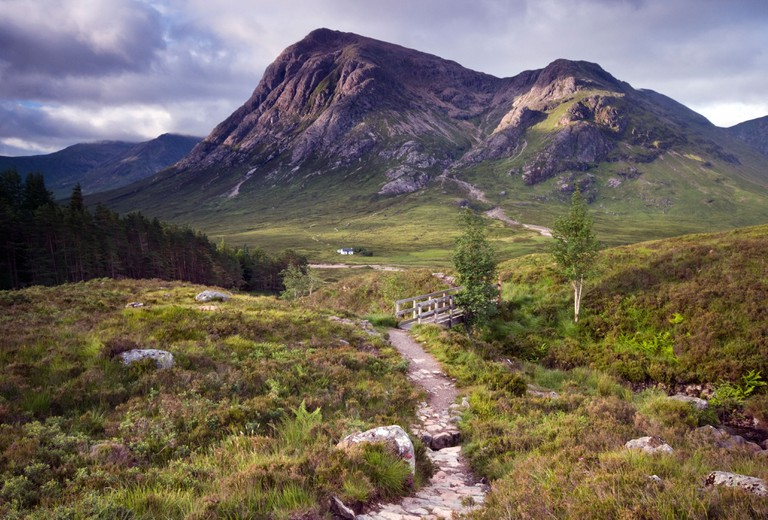 View down the Devil's Staircase towards Buachaille Etive Mor, Glencoe, in the Scottish Highlands
