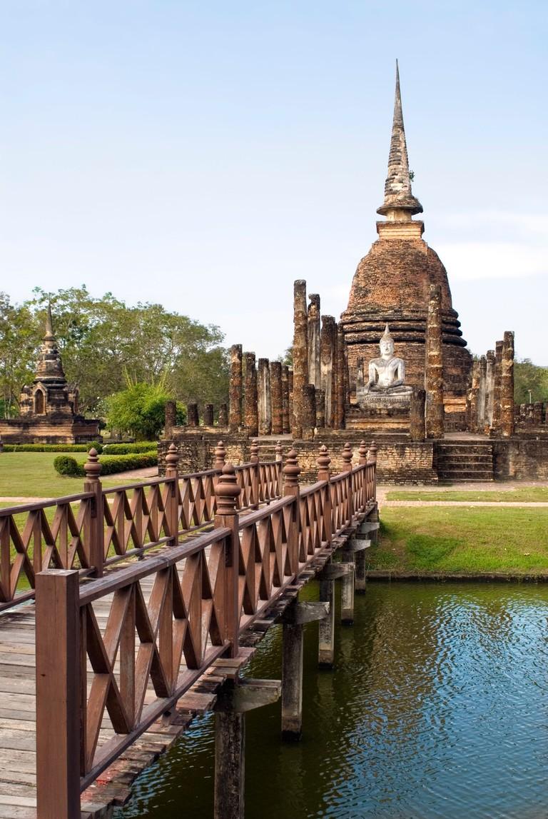 Wat Sa Si at the Sukhothai Historical Park in Thailand