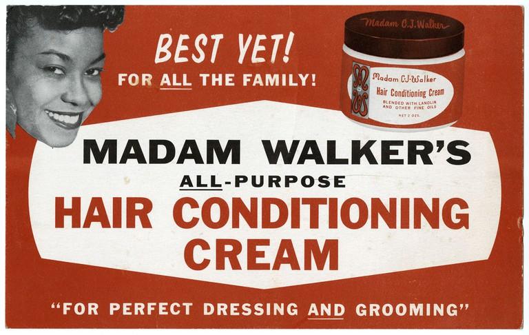 Circa 1940s advertising sign for Madam CJ Walker's All-Purpose Hair Conditioning Cream.