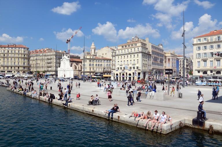 Old Port or Vieux Port & Quai des Belges Quay or Waterfront Marseille France