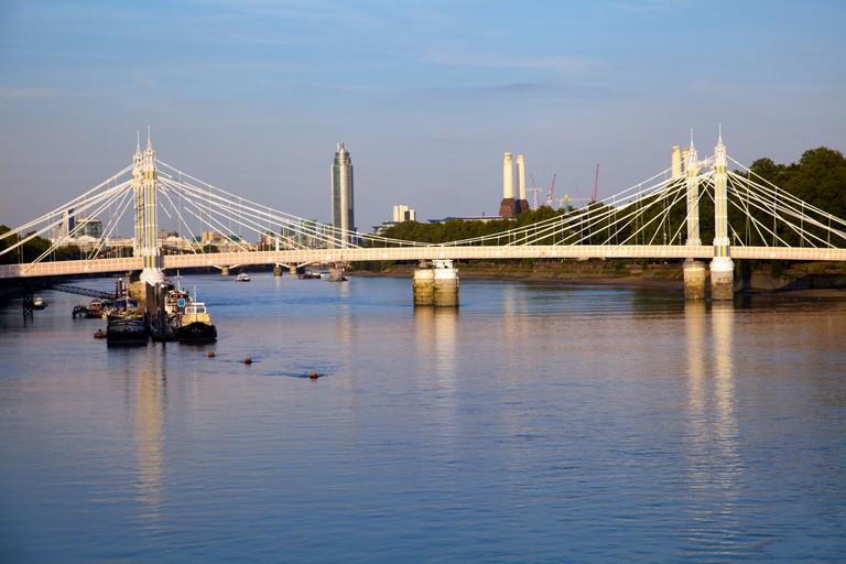 Royal Albert Bridge over River Thames at Sunset in London UK