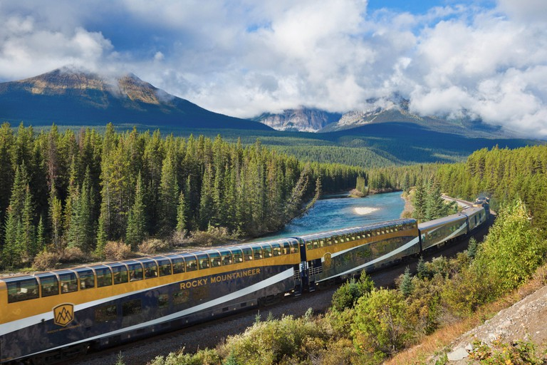 Rocky Mountaineer train at Morant's curve near Lake Louise in the Canadian Rockies Banff national Park Alberta Canada