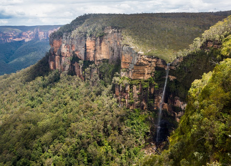 Govetts Leap Waterfall and mountains in the Blue Mountains National Park, New South Wales, Australia