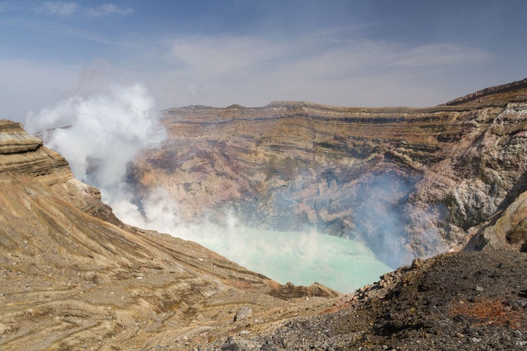 The crater of the volcano Mt Aso, on the island of Kyushu