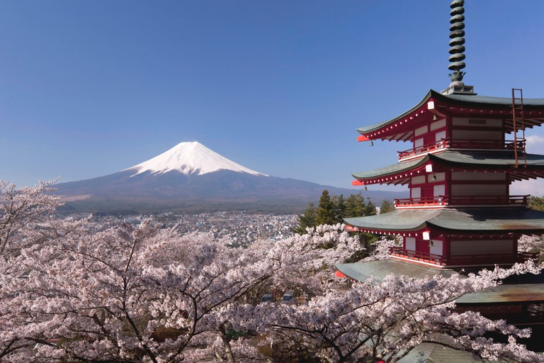 Five-story Pagoda, Cherry Blossoms and Mount Fuji, Japan. Image shot 04/2011. Exact date unknown.