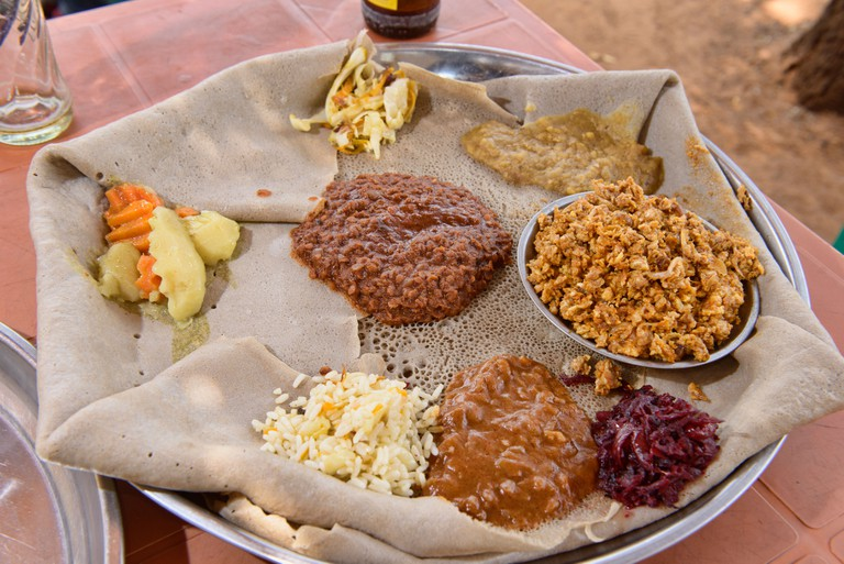 A plate of wat and injera