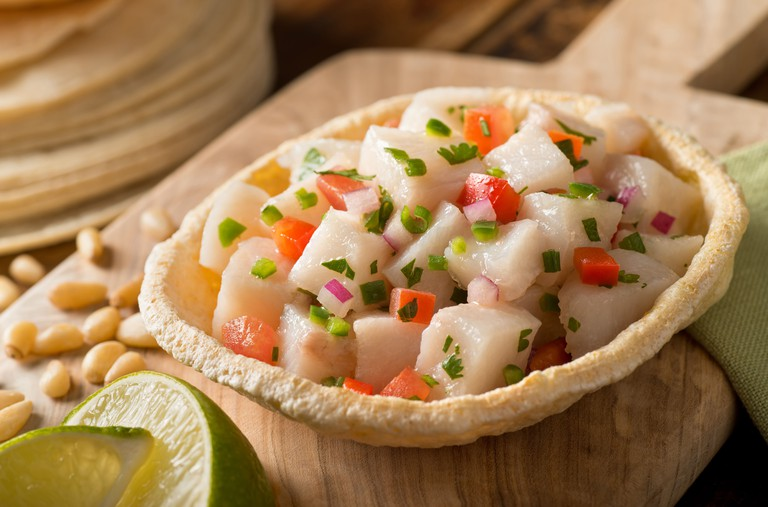 A freshly made white fish ceviche
