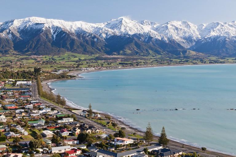 Kaikoura bay with snowcapped mountains