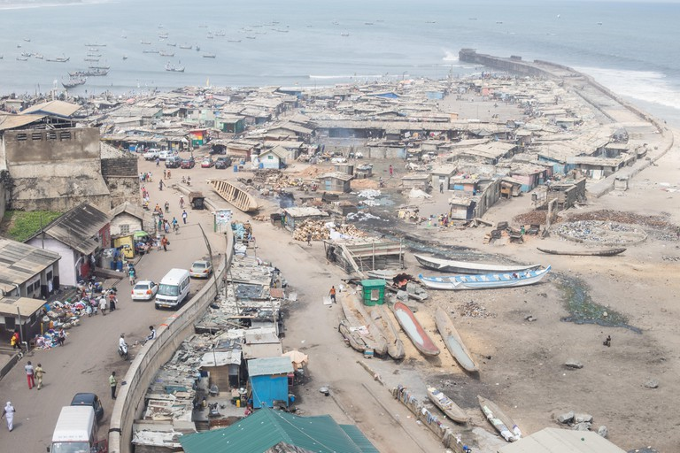 view from jamestown lighthouse over fishing village on coast of accra. Image shot 09/2014. Exact date unknown.