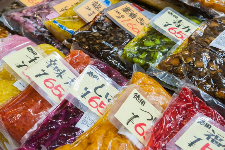 Pickled vegetables for sale, Tsukiji Fish Market, Tokyo, Japan