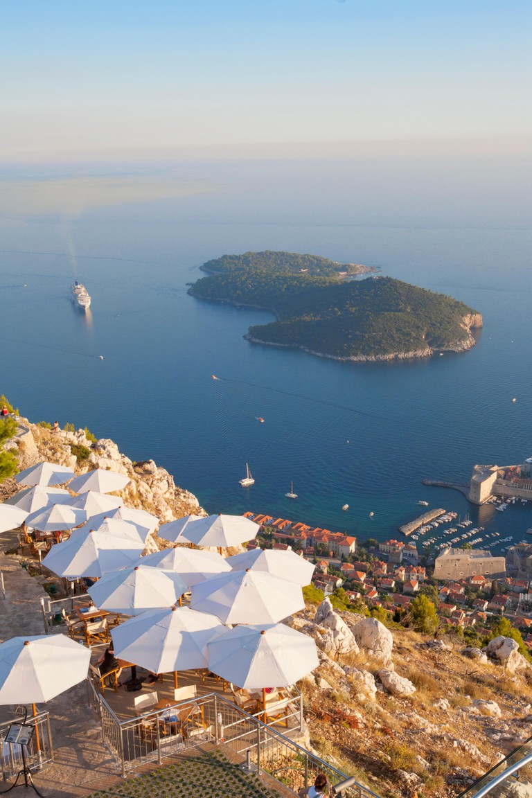 VIEW FROM SRD HILL OF OLD CITY OF DUBROVNIK AND LOKRUM ISLAND