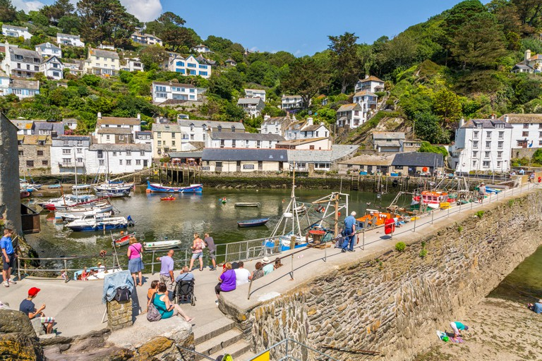 Panoramic view of Polperro Harbour, Cornwall