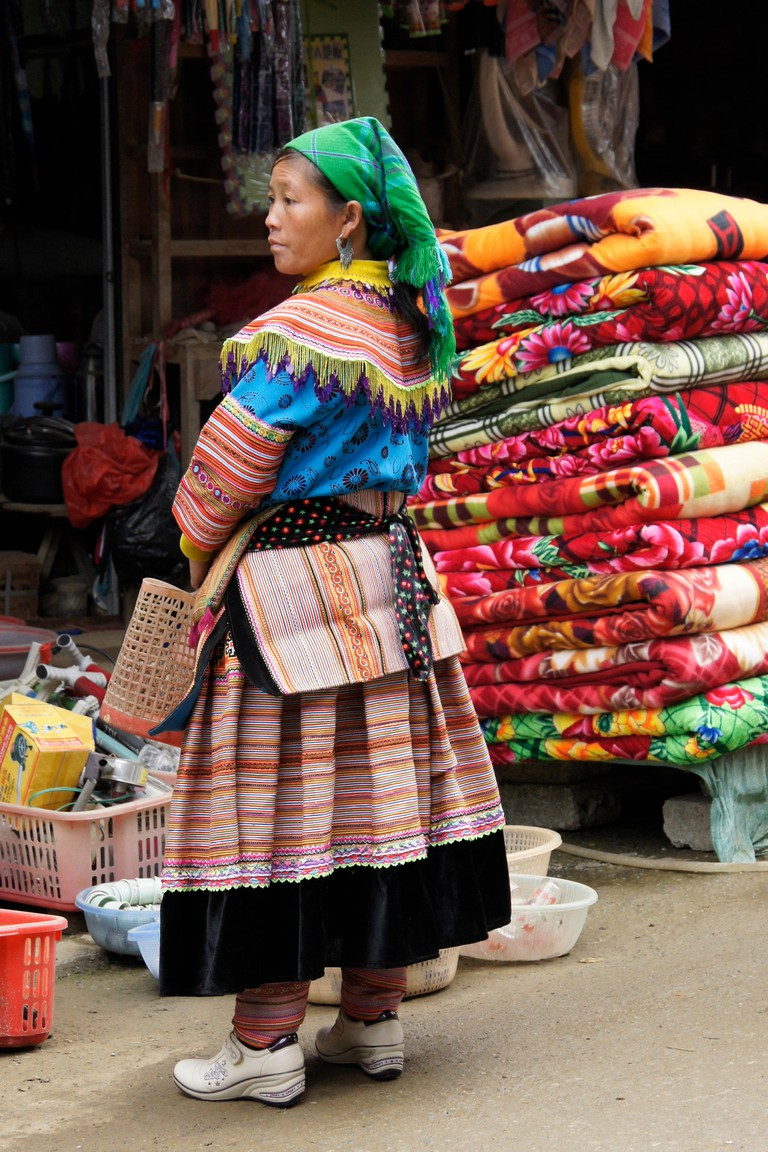 Flower Hmong woman at Sunday Market, Bac Ha, Sapa (Sa Pa), Vietnam