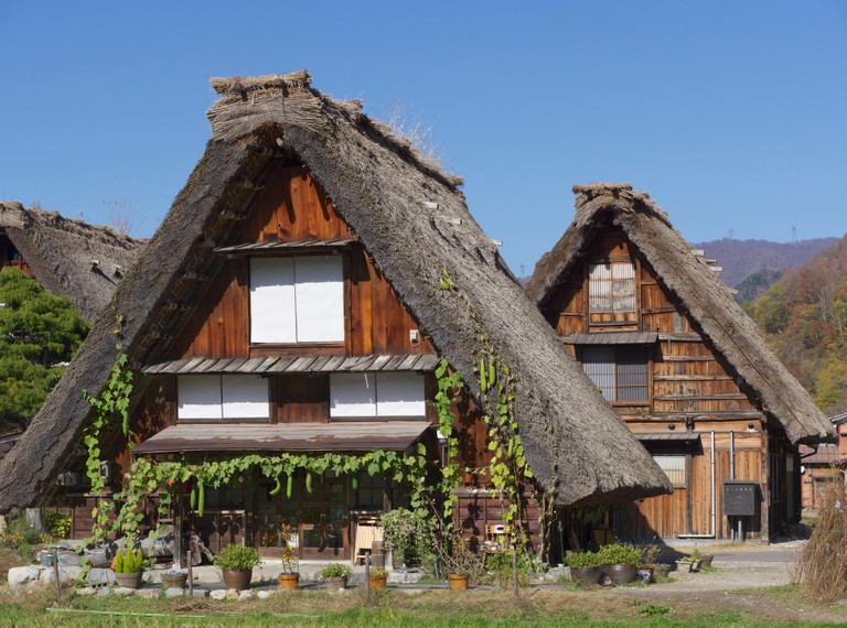 Thatched Roof Houses in Shirakawago in Japan