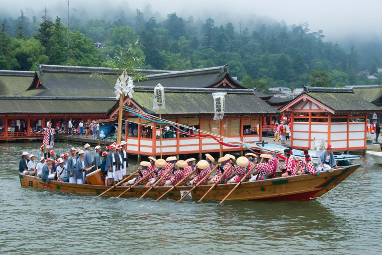 Decorated boat at Itsukushima Shrine during Kangen-sai Festival