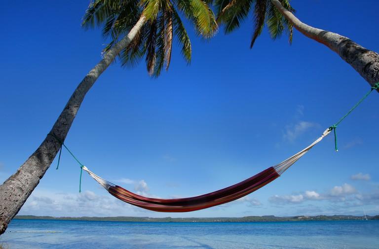 Colorful hammock between palm trees, Ofu island, Vava'u