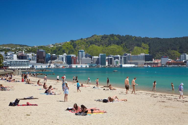 The beach at Oriental Bay, Wellington