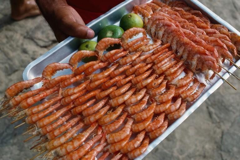 Skewered shrimp, Buzios, Brazil.