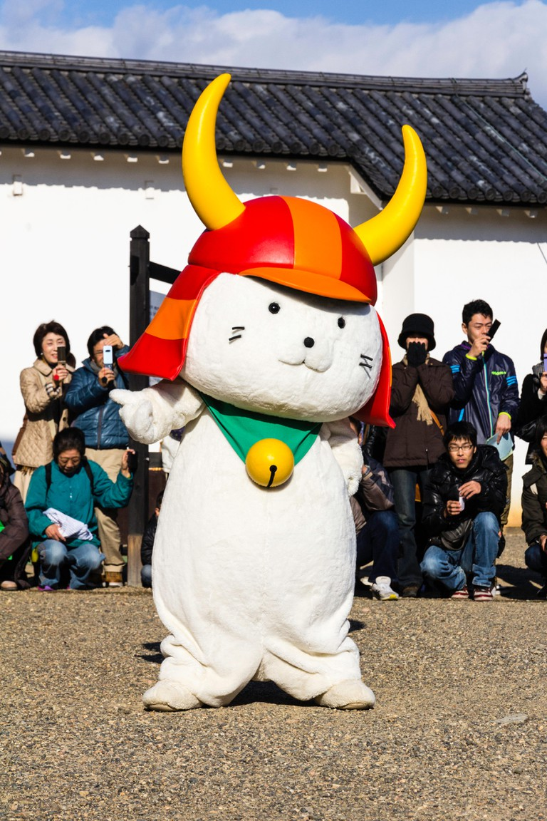Hikone Castle and Hikonyan mascot